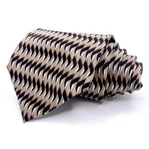 Van Heusen Tie Black Beige Silk Geometric Pattern